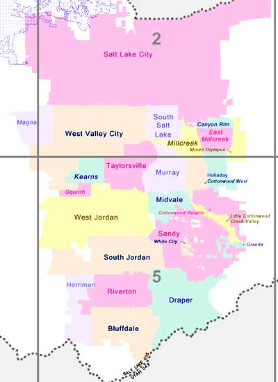 map of the cities within Salt Lake County Utah